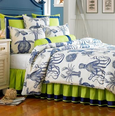 Beach Theme Like The Colors Not Sure About The Lobster And Squid Might Think It Something On My Bed At Night Joescrabshac Home Decor Home Coastal Bedrooms