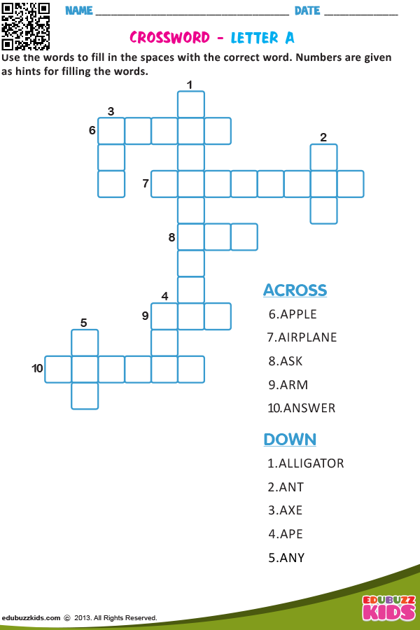 Crossword Letter A English Worksheets For Kids Crossword Phonics Rules