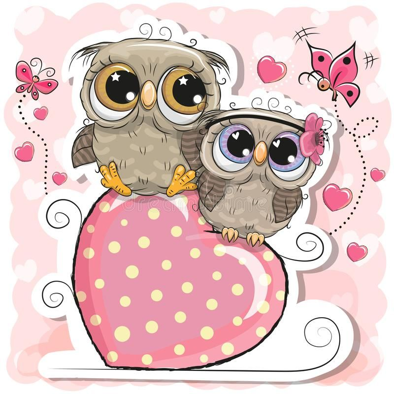 Two Owls is sitting on a heart on a pink background. Two Cute Owls is sitting on a heart on a pink background royalty free illustration