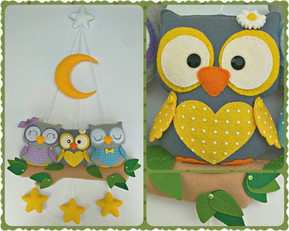 Owl Family Hanging Ornament, Baby Mobile, Child Room Hanging ...