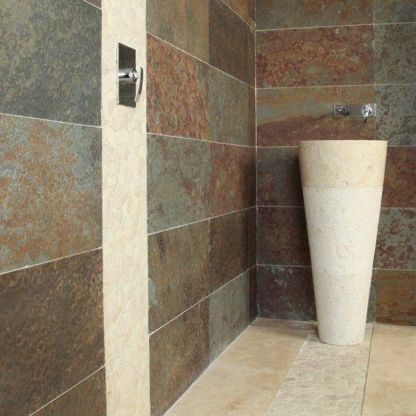 ardoise rouille naturelle 30x60x09cm pas cher - Aménagement et - faience ardoise salle de bain