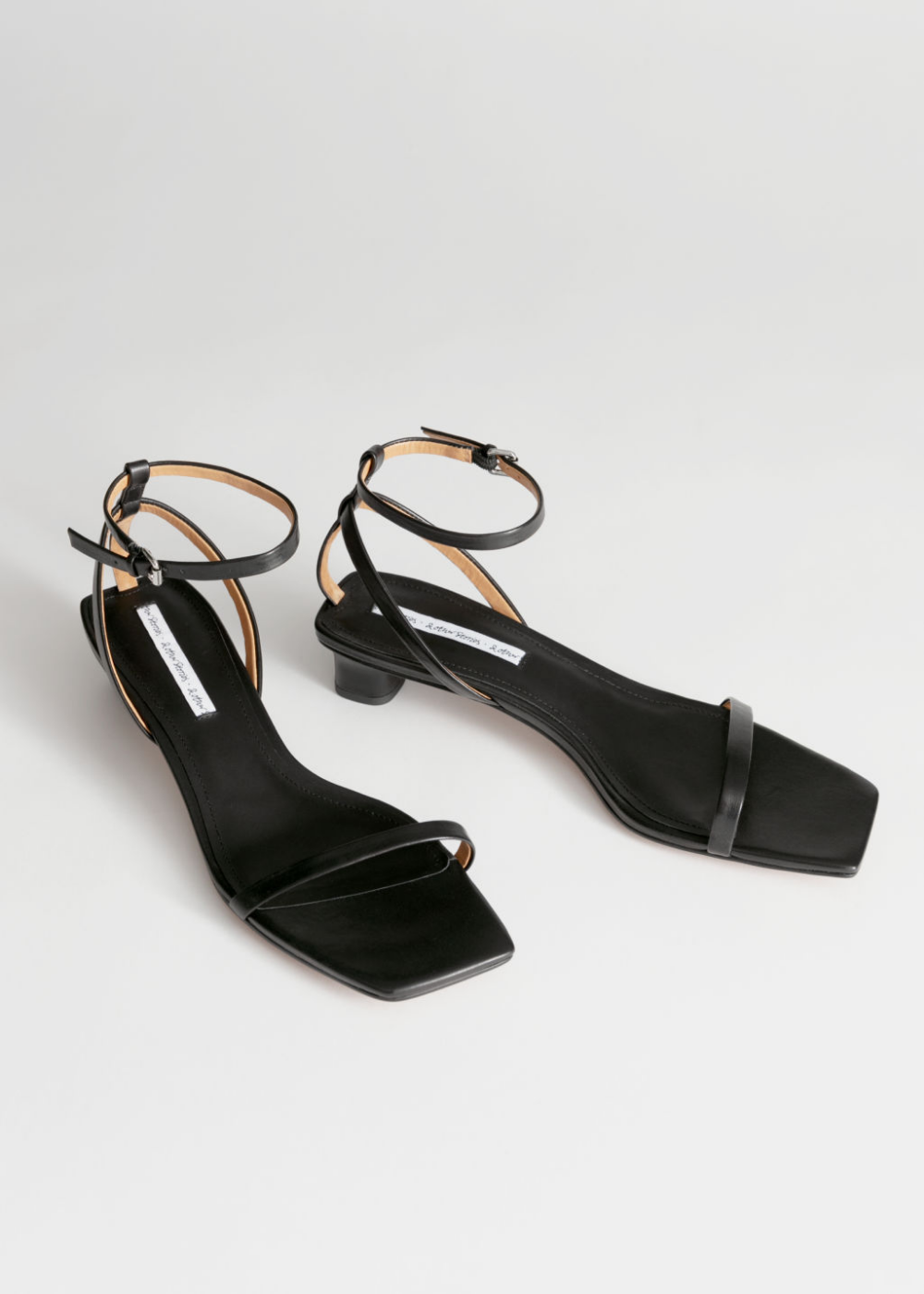Square Toe Kitten Heel Sandals - Black