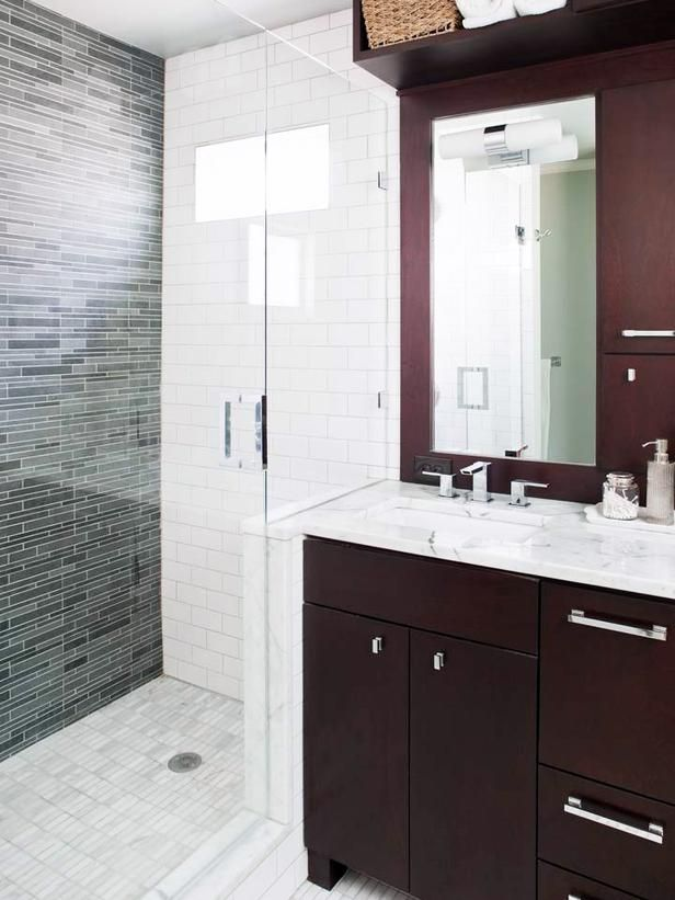 Contemporary Bathrooms from TerraCotta Properties on HGTV---white subway tile with different tile feature wall