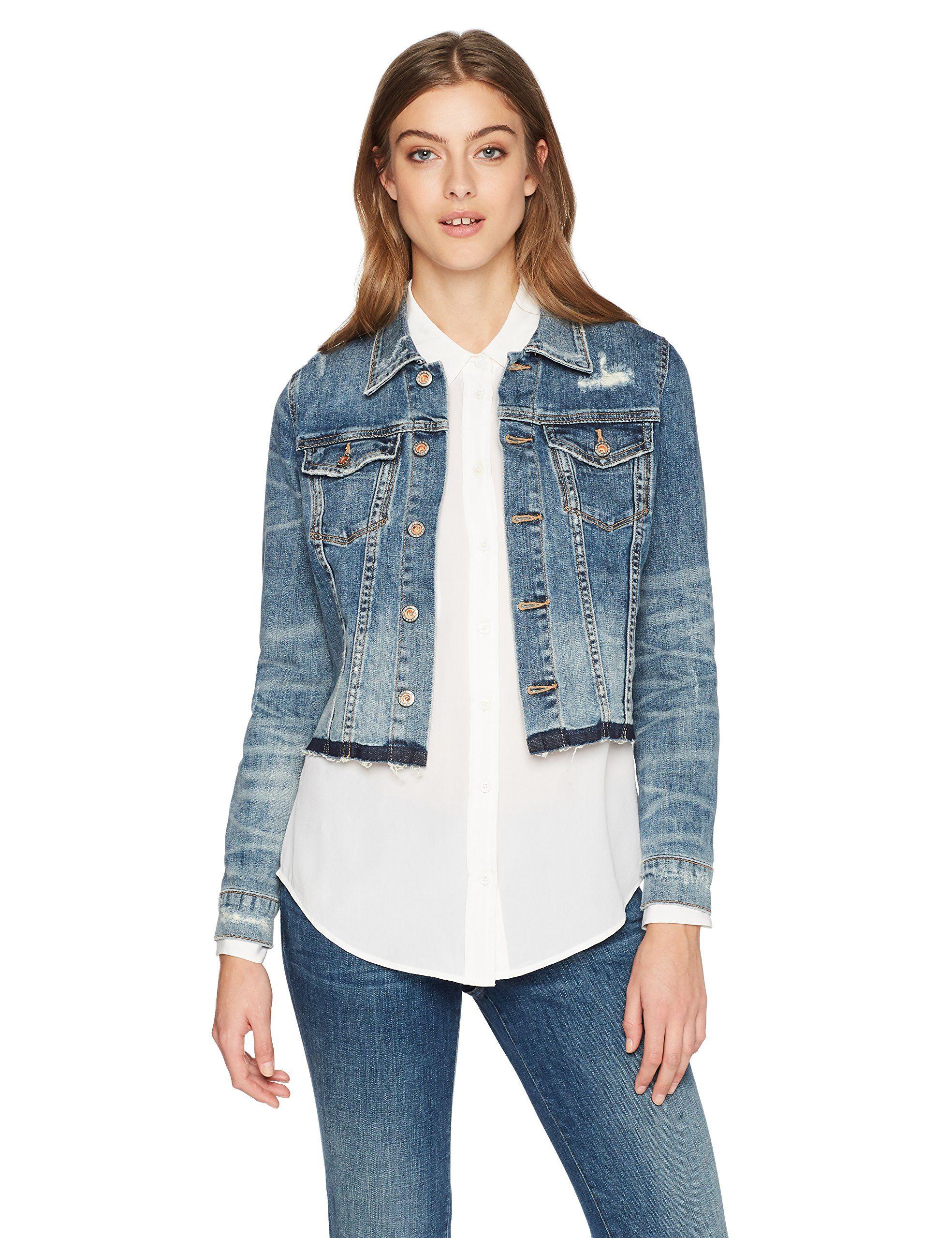 Denim Bloom Womens Deep Blue Color With Frayed Hem Denim Jacket Xs Dark Blue Color More Info Could Be Found At Denim Jacket Women Denim Fashion Women Jeans [ 2560 x 1969 Pixel ]