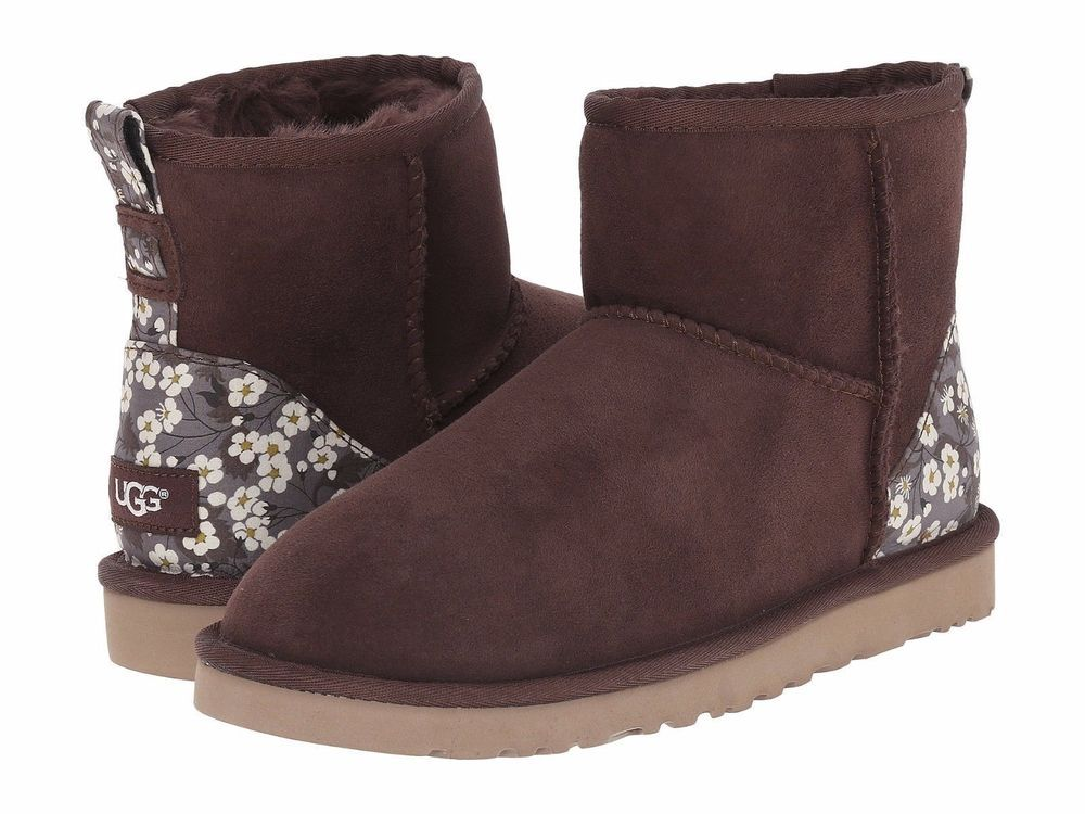 Womens Boots UGG Classic Mini Liberty Pony Brown