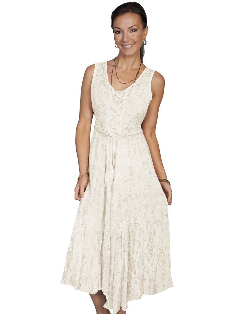 fc481acdaed Scully Honey Creek Womens Full Length Dress Ivory 100% Rayon Lace Up ...