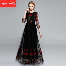 Mesh Dress Embroidery Hight Quality Rose Flowers Black / Blue 2016 3/4 Sleeve Fashion Runway Women 's Long Dress