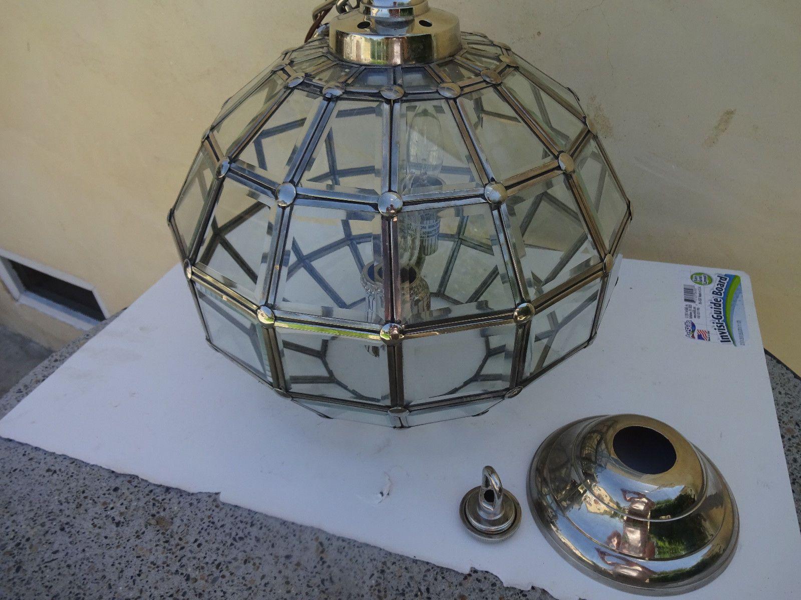Restoration hardware cut glass pendant glass lamp light fixture