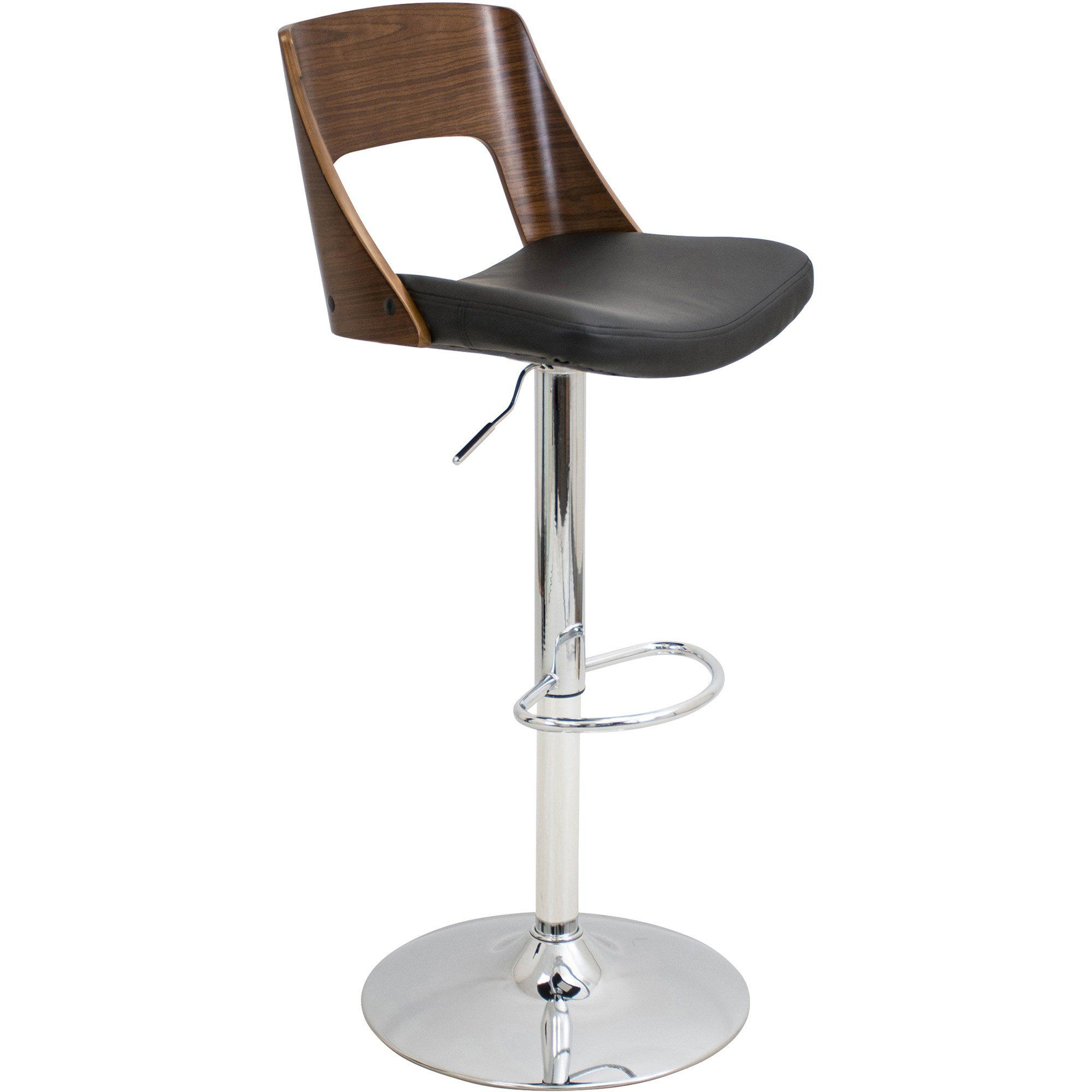 Peachy Valencia Height Adjustable Swivel Barstool Walnut Black Pabps2019 Chair Design Images Pabps2019Com