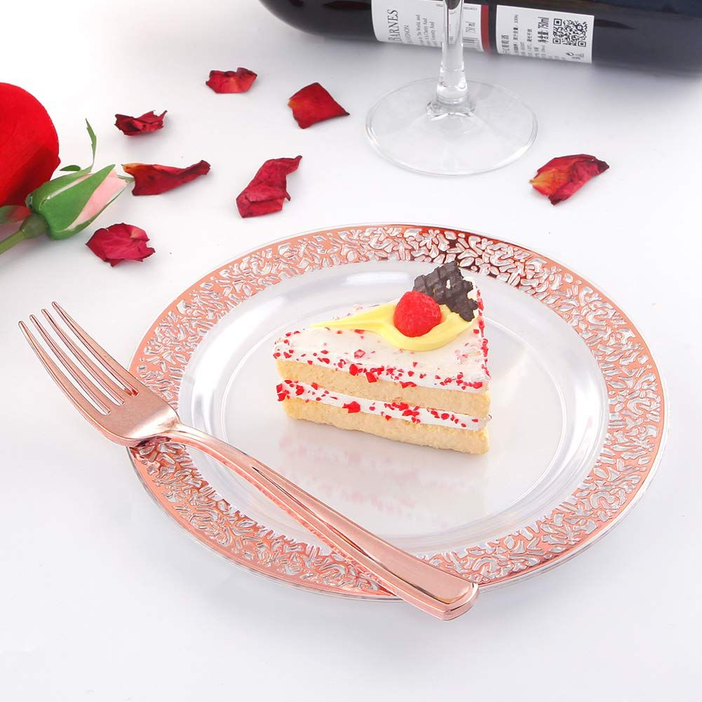 72 pieces rose gold dessert plates 75 and 72 pieces