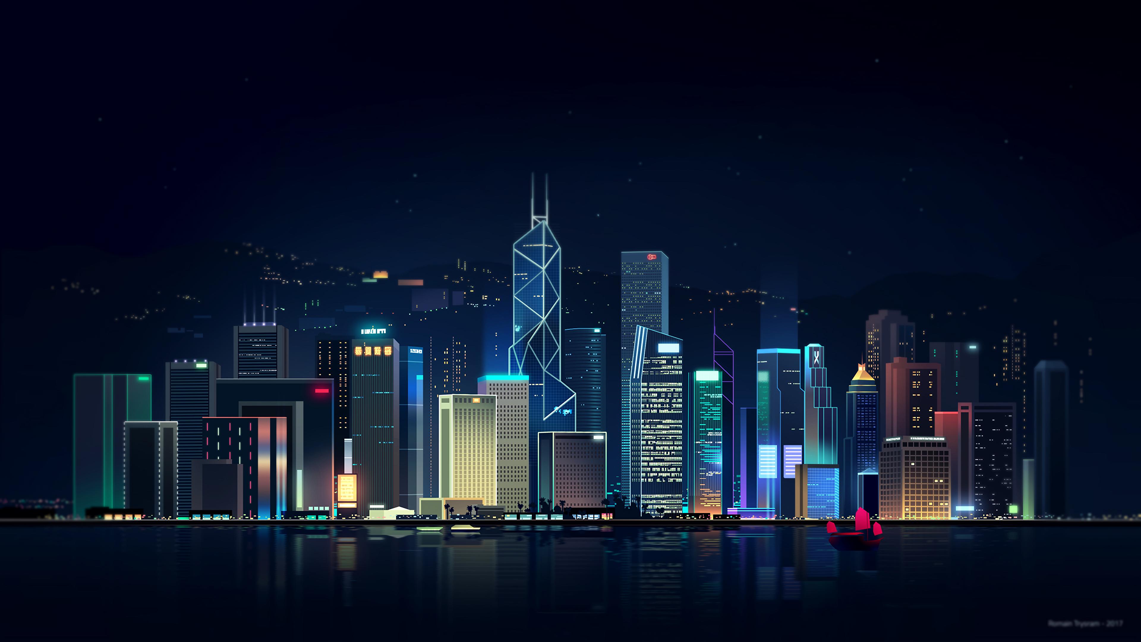 Neon City By Romain Trystram 3840x2160 In 2020 City Wallpaper Skyline Futuristic City