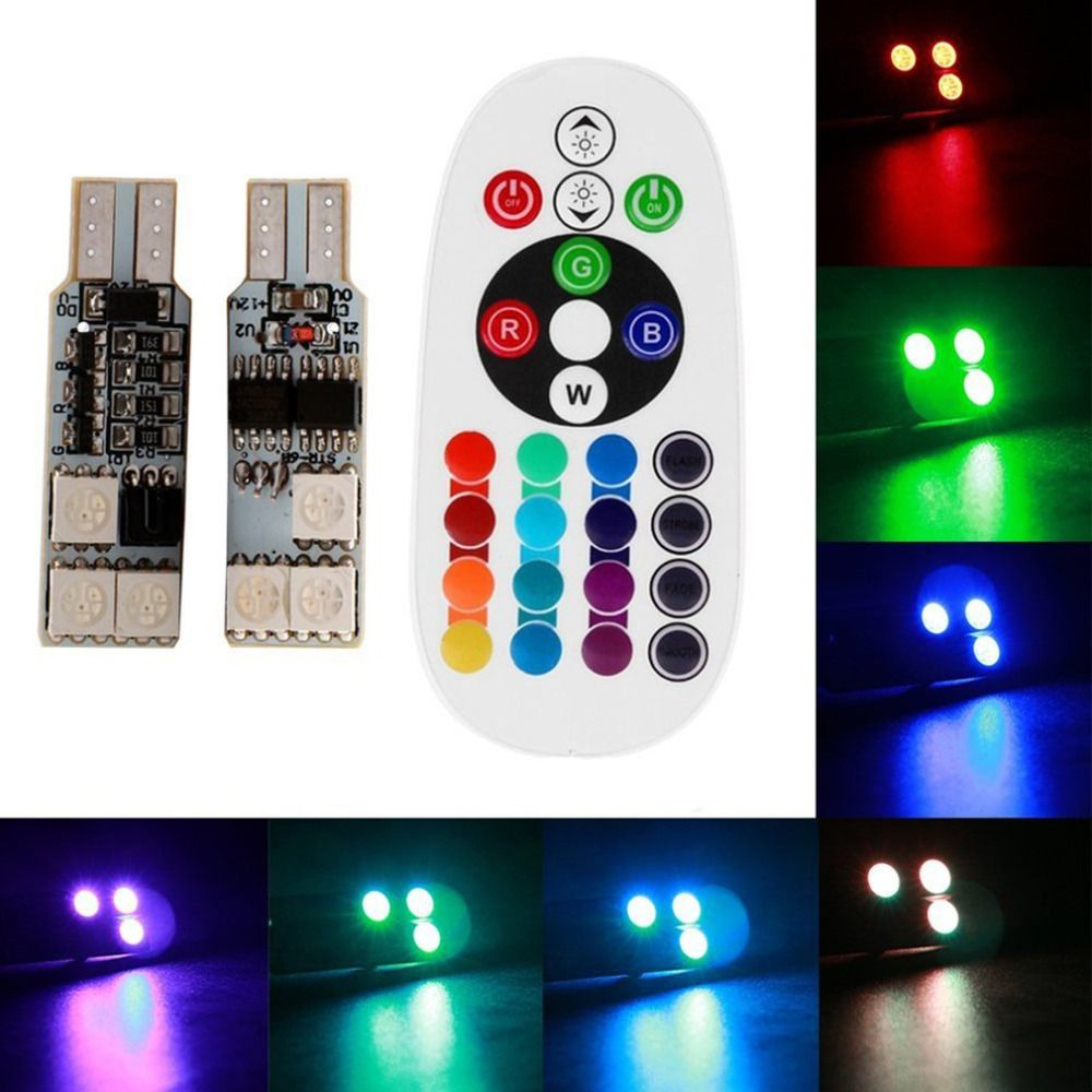 Remote Control Car Interior Rgb Led Car Dome Reading Light T10 6smd 5050 Super Bright Lamp Bulb Universal Auto Interior Lamps