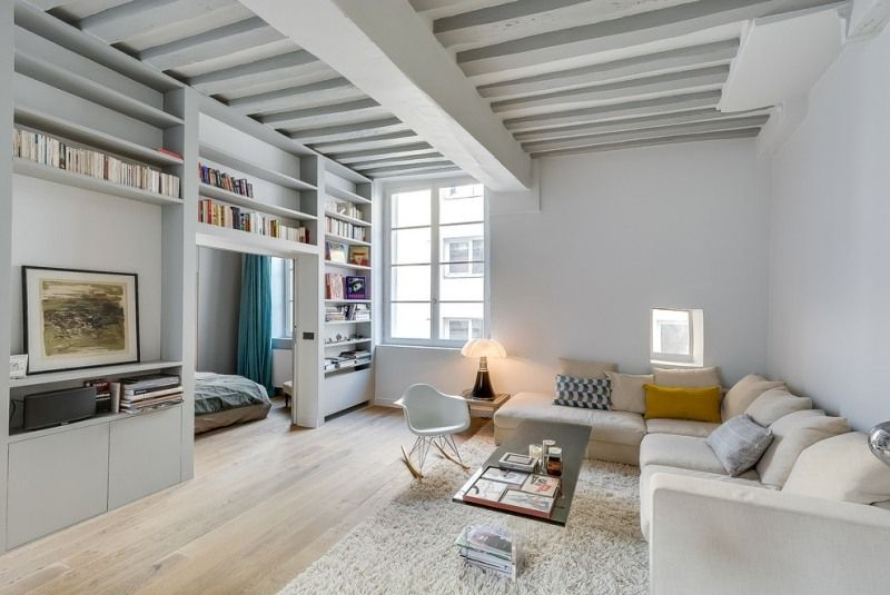 Gästezimmer vom Wohnzimmer mit einer Trennwand abschirmen Living