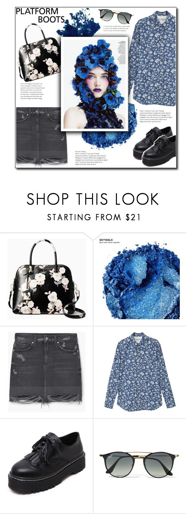 """""""Floral shirt + platform shoes"""" by w-wildroses-s ❤ liked on Polyvore featuring Kate Spade, Urban Decay, MANGO, WithChic and Ray-Ban"""