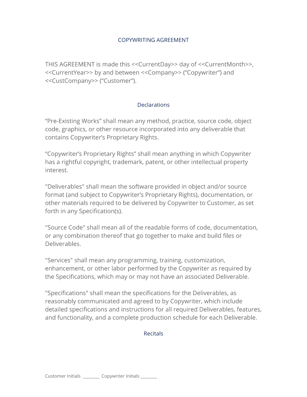 Copywriting Contract  The Copywriting Agreement Is Used When