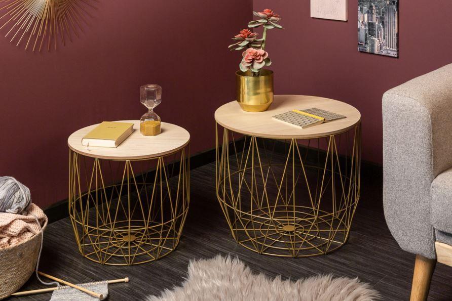 2er Set Couchtische Storage 50cm Gold Eiche Beistelltische Couchtisch Truhe Tisch