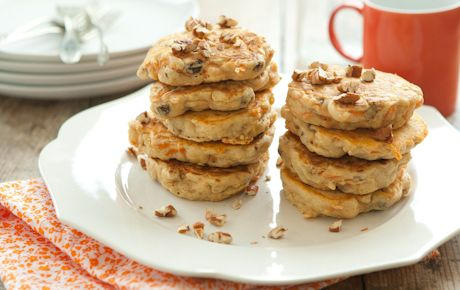 Carrot Cake Pancakes  Ingredients:  1 1/4 cups 365 Everyday Value® Organic Buttermilk Pancake & Waffle Mix   1/2 teaspoon ground cinnamon   3/4 cup plus 2 TB low-fat (1%) milk or unsweetened non-dairy beverage   3 tablespoons expeller-pressed canola oil, divided   1 (1.5-ounce) box 365 Everyday Value® Organic Thompson Seedless Raisins   1/4 cup canned crushed pineapple, drained well   3/4 cup shredded carrots   1/4 cup toasted chopped pecans