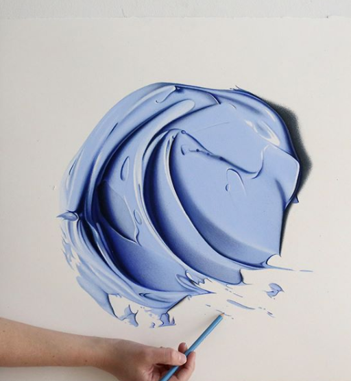 Artist creates realistic splashes of paint with a pencil