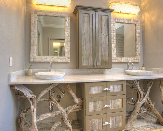 Tropical Bathroom With Unique Vanities Branch Theme Also White Marble Vessel Sinks And