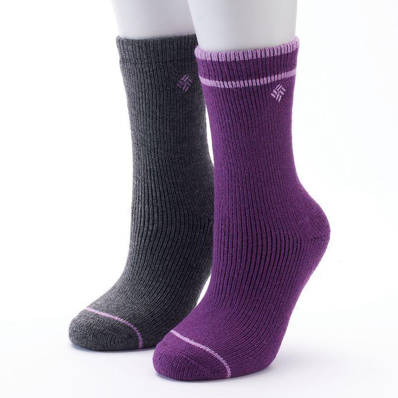 Women's Columbia 2-pk. Wool Striped Fleece Crew Socks, Size: 9-11, Ovrfl Oth