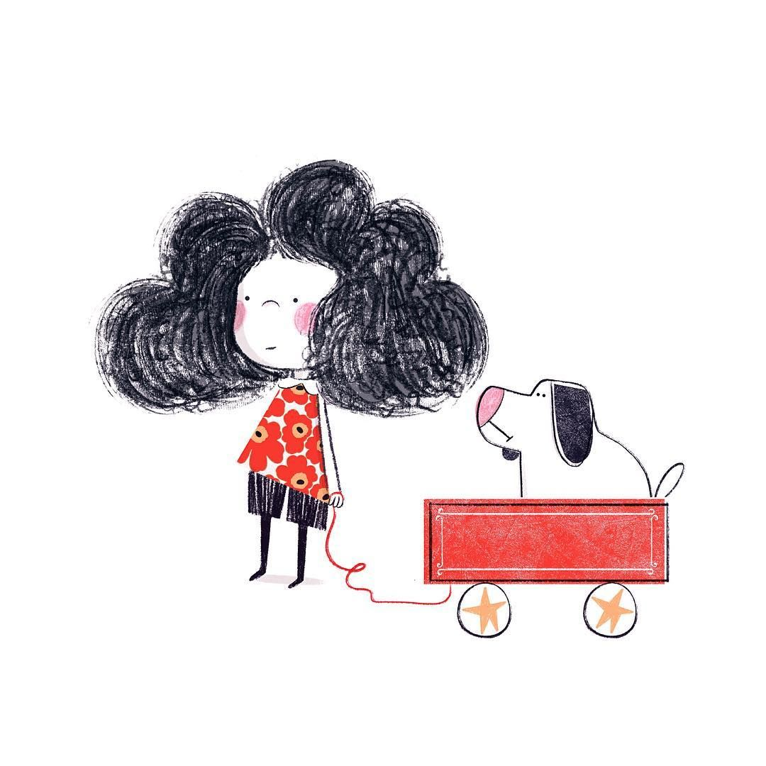 Little girl with a red wagon ❤️ (I've always wanted one ever since watching matilda hehe) #art #artist #instaart #artwork #illustration #childrensillustration #kidlitart #digitalart #traditional #mixedmedia #photoshop #drawing #painting #doodle #sketch #pencil #watercolour #girl #animal #dog #puppy #character #child #hair #cute