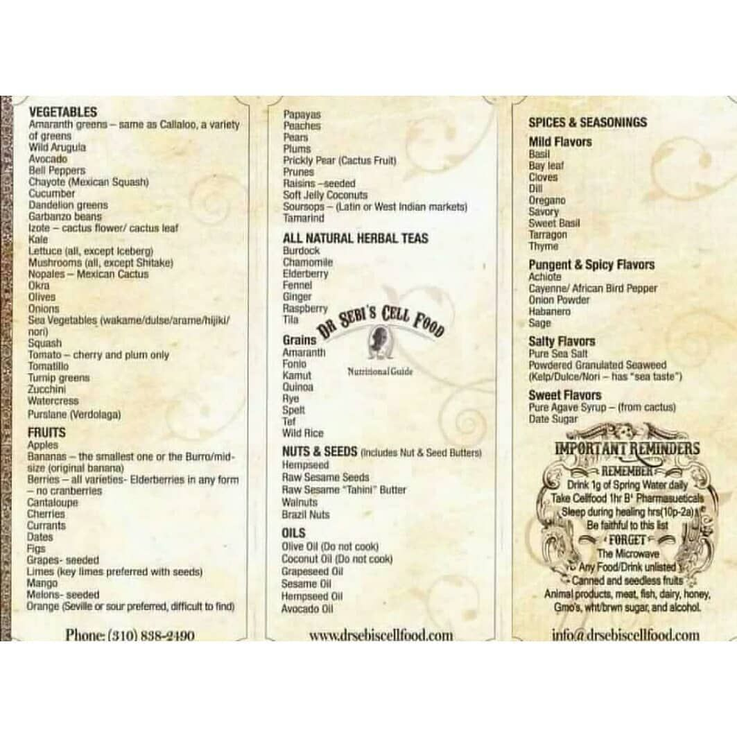 Heres a copy of dr sebis nutritional guide this list