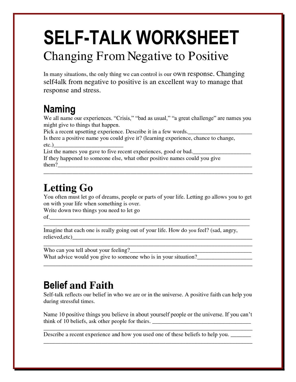 Worksheets Self Worth Worksheets anger worksheets google search positive thinking pinterest the worry bag self talk worksheet archives healing path with childrenteens