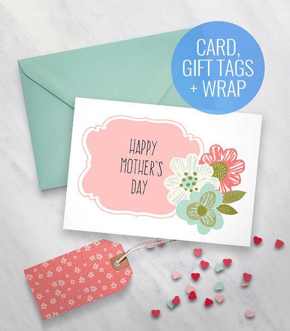 printable mother 39 s day card floral printable card happy mothers day card printable gift tags. Black Bedroom Furniture Sets. Home Design Ideas