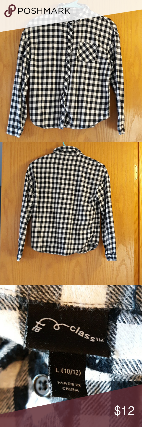 Art Class Black and White Flannel •Gently Worn •Black and