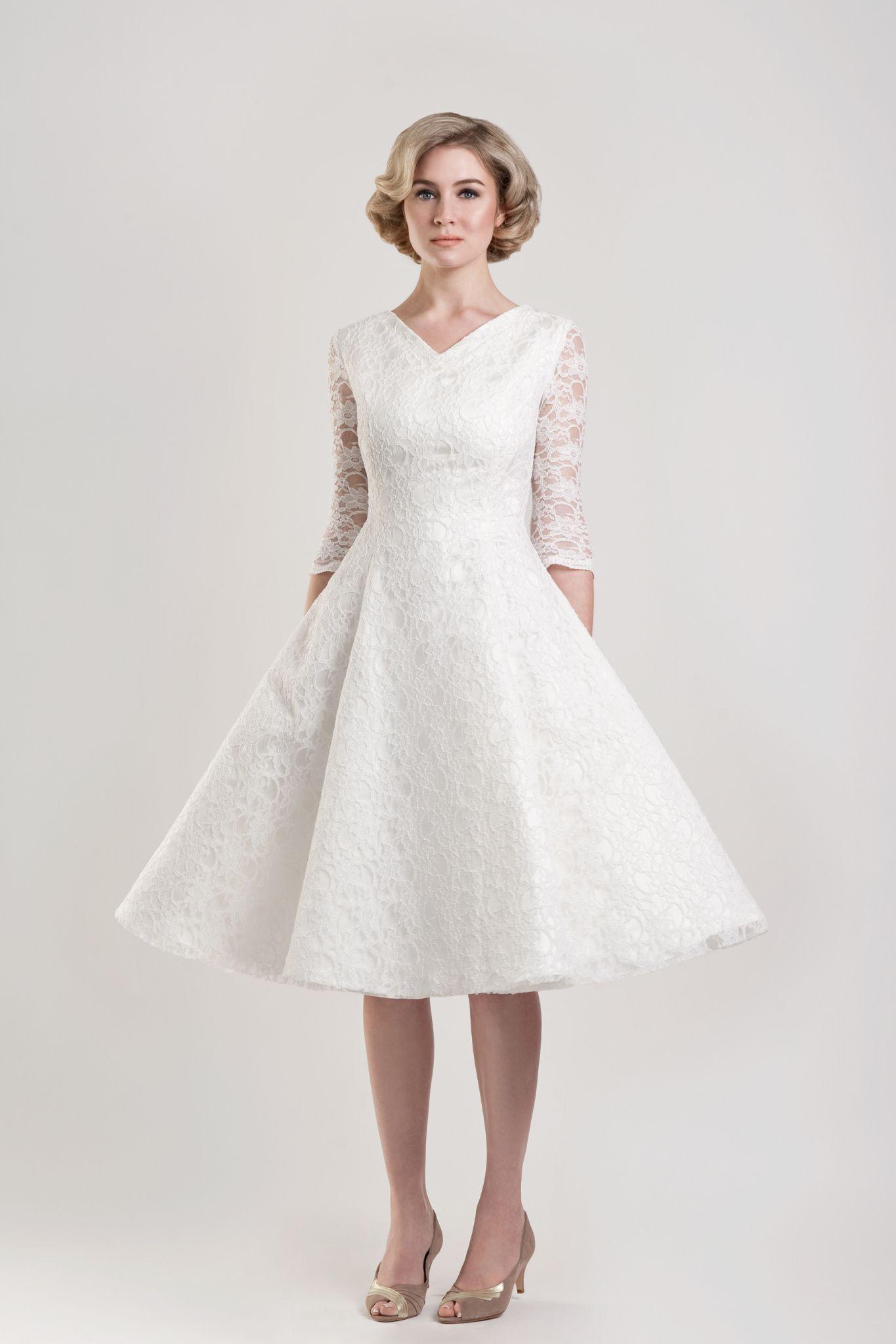 Tea Length Wedding Dresses for Older Women Plus Size