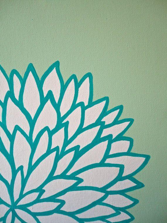 Mint Turquoise Dorm Decor Original Art by