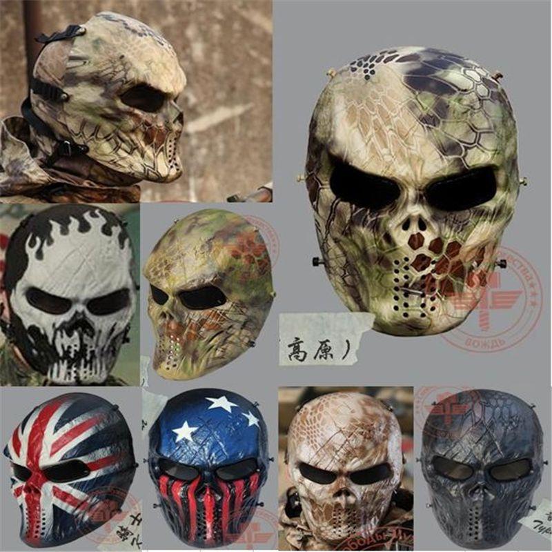 Tactische Outdoor Wargame Volledige Gezicht Air soft Paintball CS Leger Games Horror Gost Schedel Masker 7 kleur koos