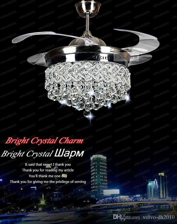 Invisible Crystal Light Ceiling Fans Modern Led Lamp Indoor Parlor Remote Control Llfa11
