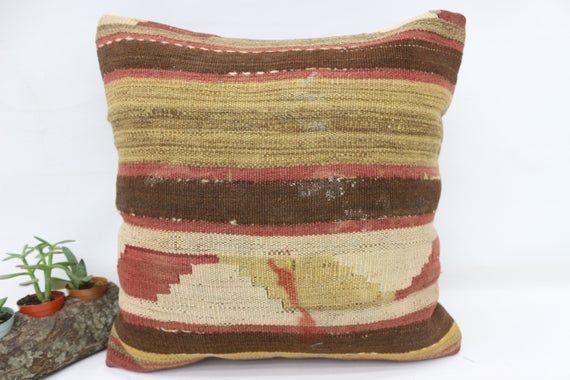 18x18 Turkey Kilim Pillow, Ottoman Pillow, Best Pillow Cover,Throw Pillows, Home Decor Pillow, Brown