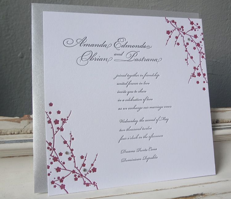 Slight cut out with color elegant bridal shower invitation ideas our japanese inspired letterpress wedding invite with swarovski crystalsand our wedding invitation give away filmwisefo Gallery