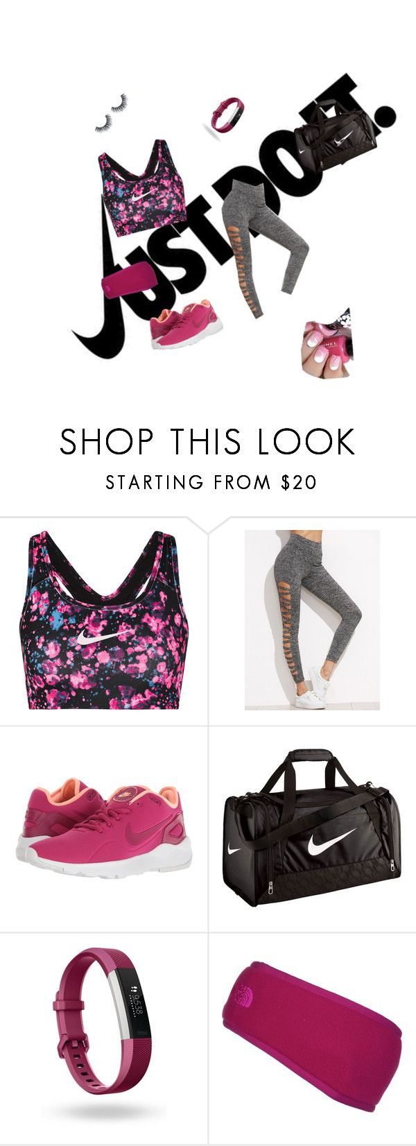 """""""work and fight like a girl😜🤓😌"""" by kaylic1 ❤ liked on Polyvore featuring NIKE, Fitbit and The North Face"""