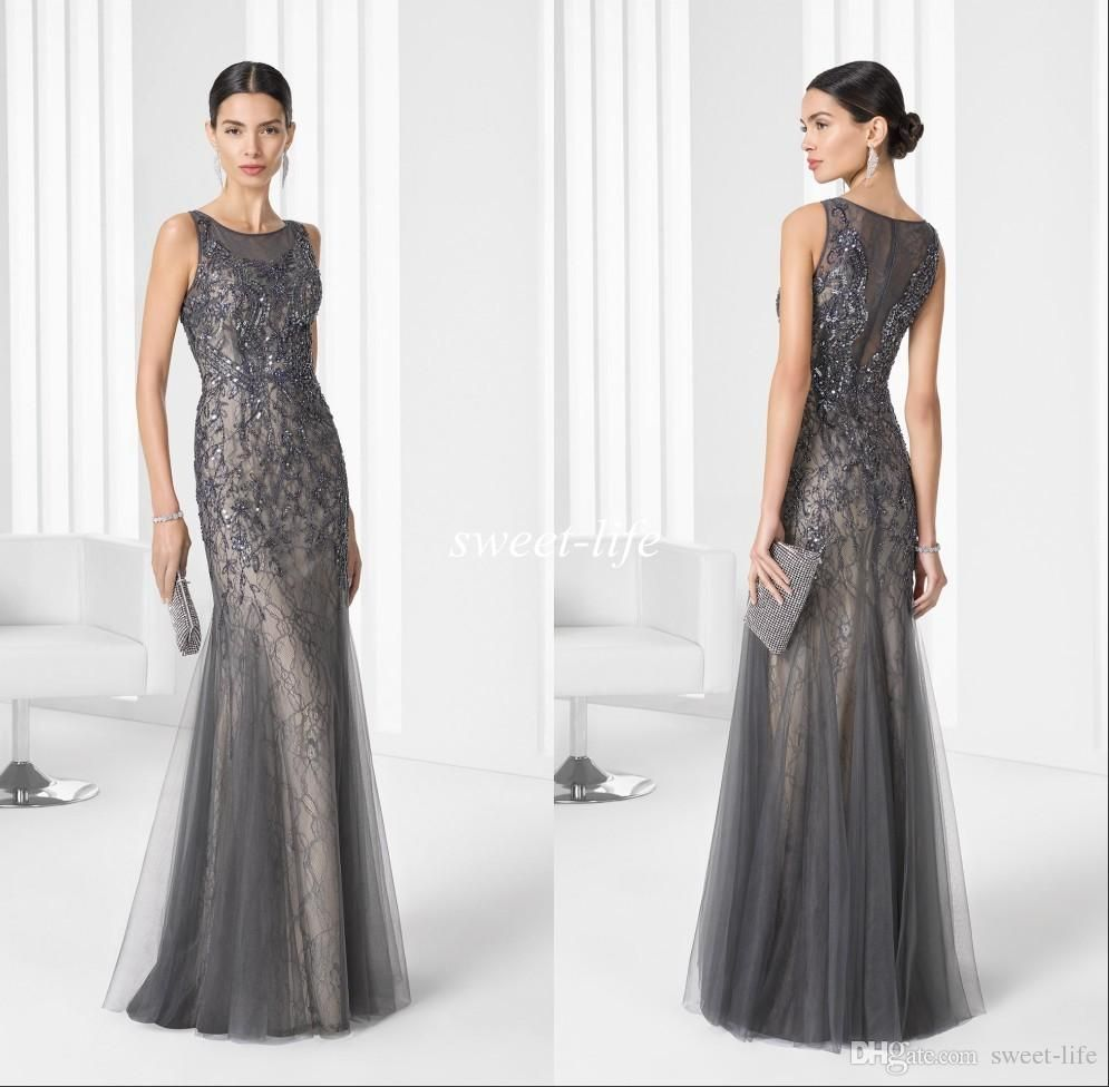 2016 Lace Mermaid Mother Of The Bride Dresses Groom: 2016 Grey Vintage Long Mother Of The Bride Dresses Lace