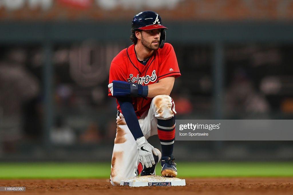 Atlanta Braves Shortstop Dansby Swanson Looks Out From Second Base Atlanta Braves Dansby Swanson Braves