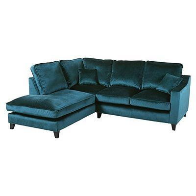 Tate Velvet Left Hand Corner Chaise Teal Corner Sofa Corner Sofa Teal Sofa Velvet Sofa