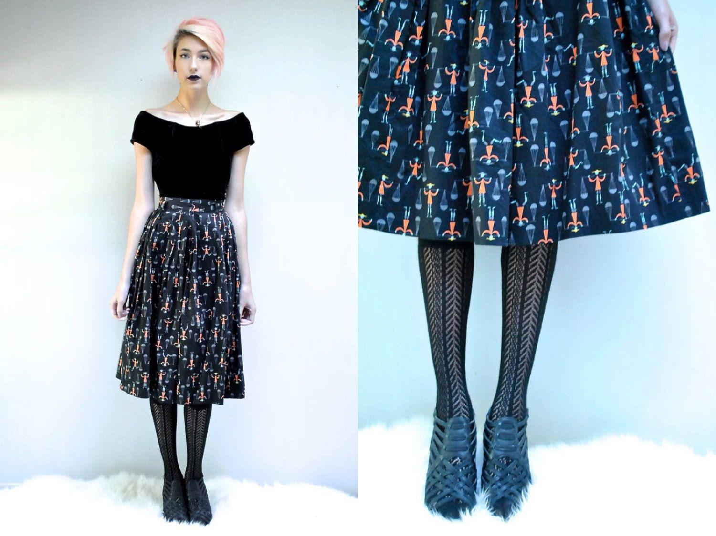 50s Novelty Print Skirt Full Circle Skirt Little Men Etsy Black Circle Skirts Black Midi Skirt Full Midi Skirt