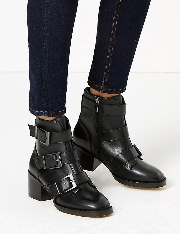 M\u0026S Block Heel Biker Ankle Boots