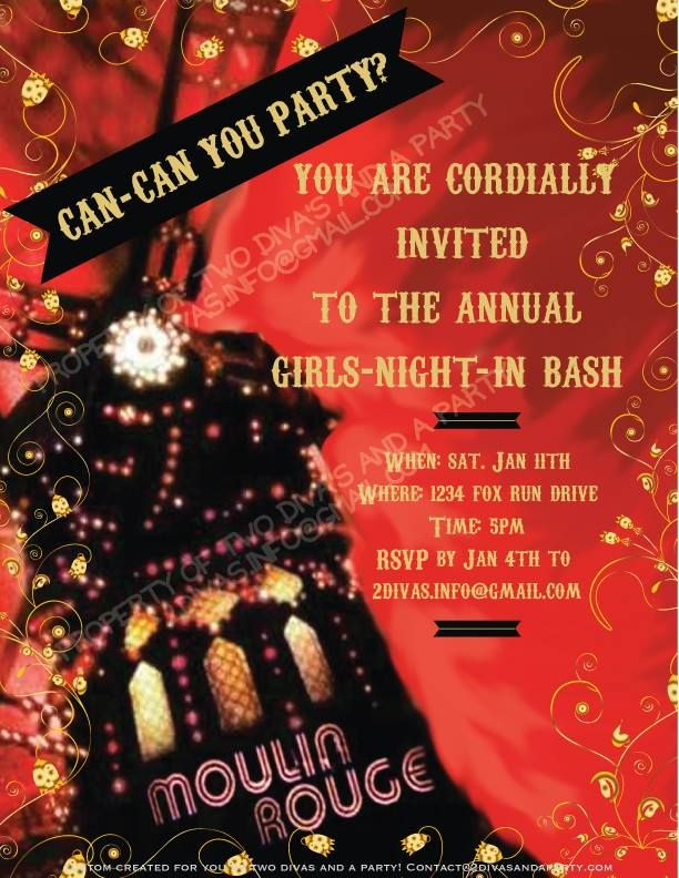 Moulin Rouge Invite Created By Two Divas And A Party Like Us On