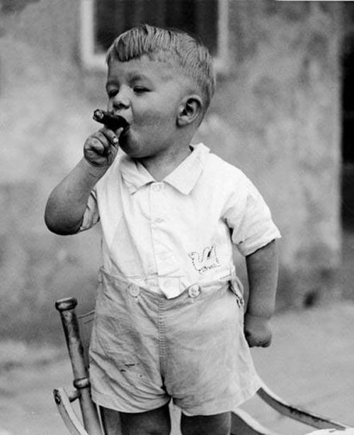 Image result for vintage kid with a cigar