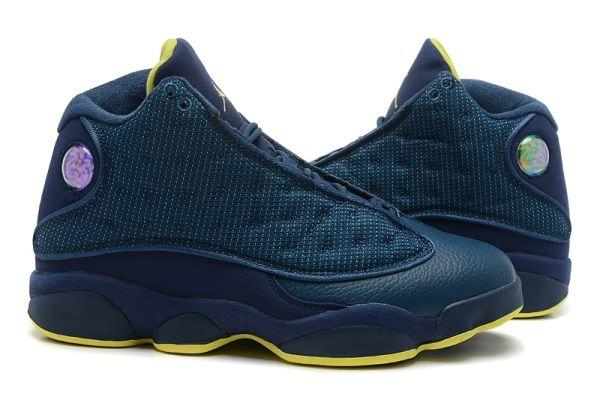 3f49b62d544888 Air Jordan Retro 13 AAA Men s shoes Dark Blue Yellow