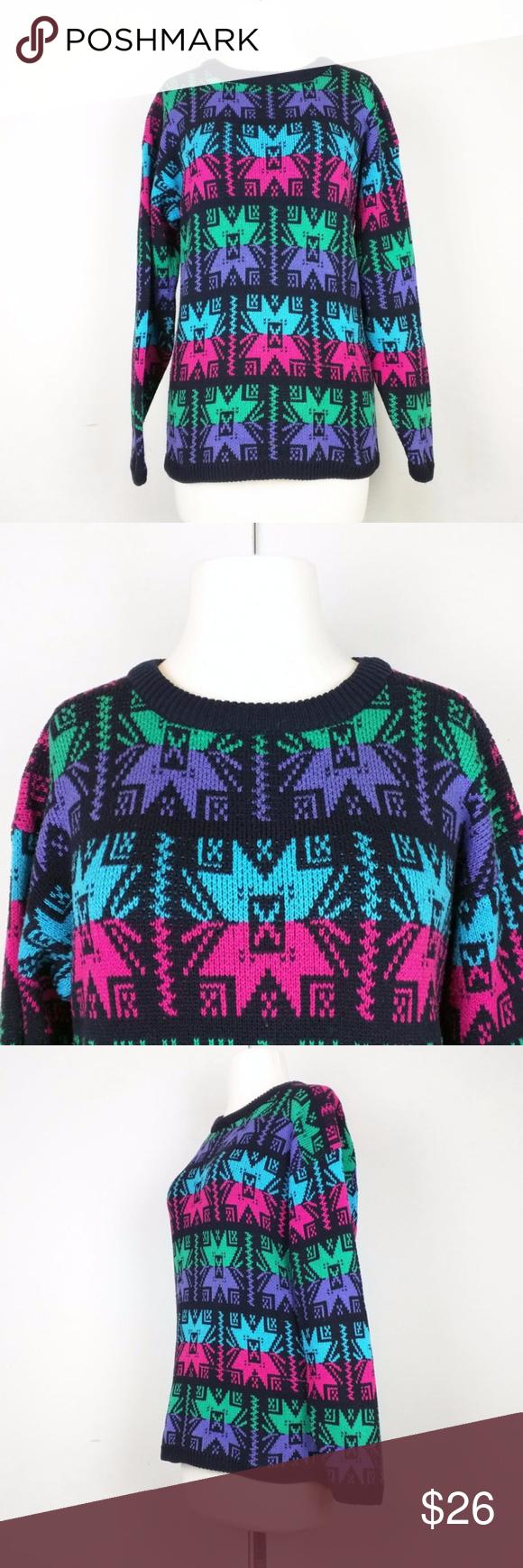 Vintage Black Colorful Snowflake Knit Sweater Black, pink, purple ...
