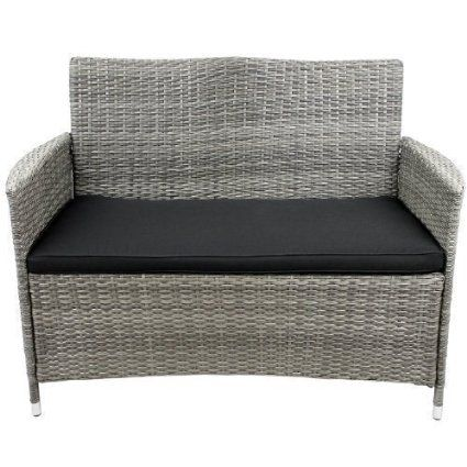 Two Seater Rattan Garden Furniture 110 stylish 2 seater sofa rattan garden bench included with poly 110 stylish 2 seater sofa rattan garden bench included with poly rattanbespannung aluminum workwithnaturefo