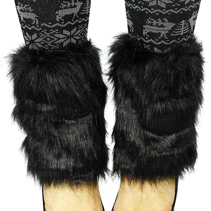 Simplicity Women's Winter Faux Fur Boot Cuff Cover Leg Warmers, Black at Amazon Women's Clothing store: Cycling Legwarmers