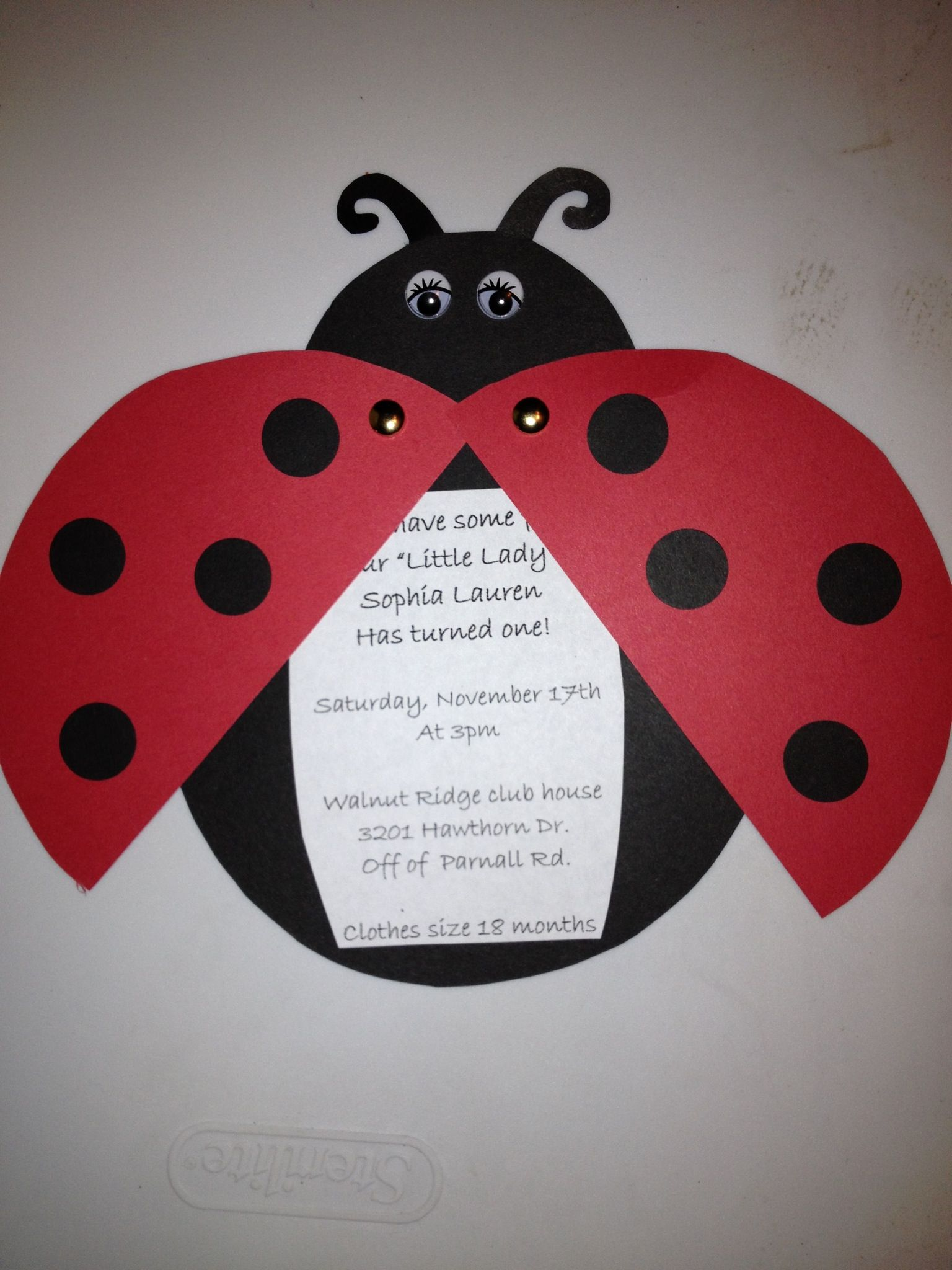 Ladybug party invitations.... Come have some fun, Sophia has turned ...