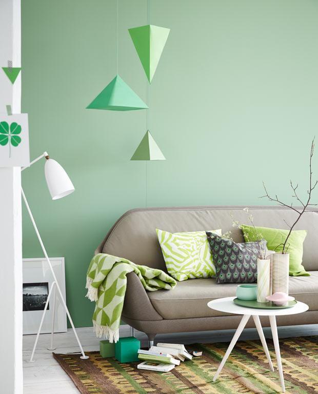 Wohnen mit Farben - Wandfarbe Rot, Blau, Grün und Grau Wand in Grün - Wohnzimmer Design Wandfarbe Grau