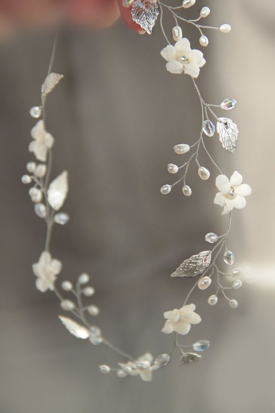 silver leaf hair vine, bridal pearl headband | n.b. - I'm picturing two of these forming a double row, or framing a juliet cap.